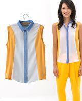 Новая мода лето короткие печати o шеи шифон блузки рубашки женщин & рубашка блузка
