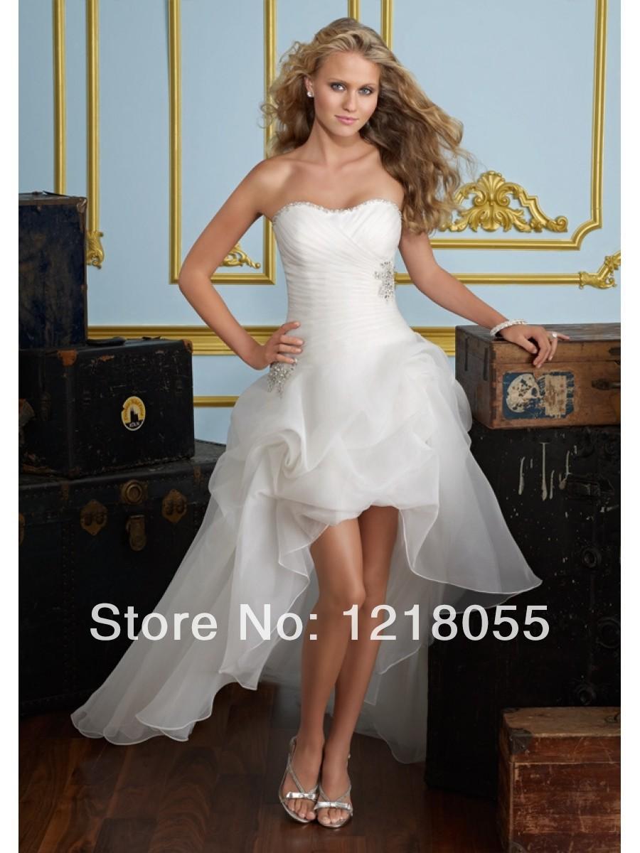 Nueva marca de moda de la burbuja hi-lo hasta de encaje de organza de novia sin tirantes 2014 vestidos de novia vestido 014235