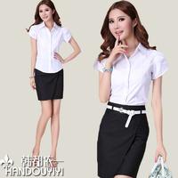 2014 work wear women's set skirt summer ol fashion short-sleeve shirt work wear formal