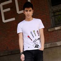 2014 male shirt summer t-shirt slim nan white t shirt male t shirt short-sleeve o-neck t-shirt