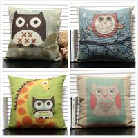 """Owl Cushion Cover Creative Throw Pillow Case Decor Cushion Cover Square 18"""" Vintage Cushion for Car/Sofa/Home"""