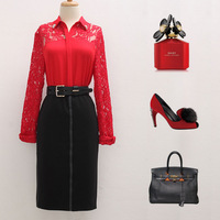 free shipping Fashion 2014 women's cotton lace shirt long-sleeve polo turn-down collar slim racerback shirt
