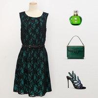 free shipping Sophia 2014 fashion women's slim one-piece dress lace cutout sleeveless tank dress with belt