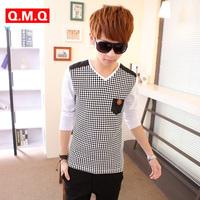 Qmq teenage long-sleeve T-shirt male spring and autumn male V-neck men's clothing t-shirt basic shirt