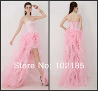 High Low Prom Gown Crystal Rhinestones Sweetheart Bodice Organza Pink Prom Dresses 2014 Girls Dresses K15