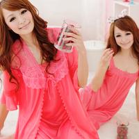 Summer short-sleeve sleepwear spaghetti strap summer viscose women's sexy nightgown twinset lace lounge