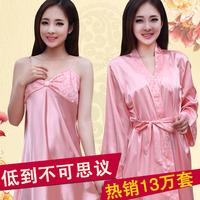 Sleepwear female sexy short-sleeve silk nightgown women's spaghetti strap twinset long-sleeve lounge set summer