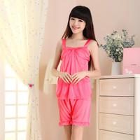 Summer short-sleeve sleepwear spaghetti strap viscose sexy nightgown faux silk sleepwear twinset lace lounge set
