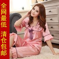 Summer short-sleeve silk women's sleep shorts set quality silk sleepwear lounge