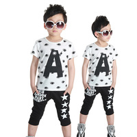 new arrival high quality t-shirt casual set 2014 summer child sports twinset children's o-neck short-sleeve clothing