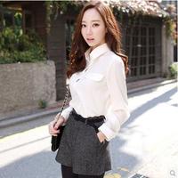 2014 spring and autumn women's loose casual basic long-sleeve chiffon shirt top shirt  Free shopping