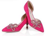 2014 Fashion diamond flower women heels shoes flock  pointed toe summer pump