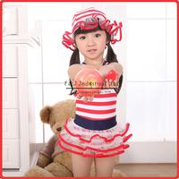 2014 Summer Girls Fashion Beachwear Striped Nylon And PU One-piece Swimwear With Falbala Girls New Arrival Swimwear