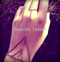 Style HE0012  Fashion Women Jewelry Gold/Silver Metal Hand Chain Bracelets Jewelry