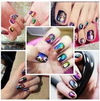Colorful star HARAJUKU magicaf laser metal quality nail art finger stickers  2014 free shipping
