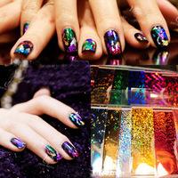 Harajuku finger applique colorful nail art laser metal stickers nail polish nail art  new 2014 free shipping