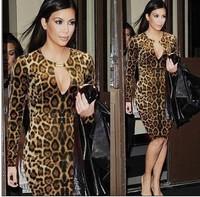 women long sleeve knee-length leopard dress plus size women dresses new fashion 2014 sexy bodycon dress