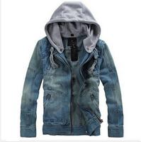 Free Shipping 2013 Autumn Detachable Hooded Denim Jacket Men's Jeans Outerwear J8812