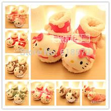 2014 new kawaii cute lolita cartoon plush KT Kids slippers boots autumn winter cotton-padded slippers child plush