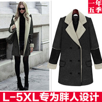 2013 fashion plus size winter clothing double breasted turn-down collar colorant match medium-long wool coat outerwear