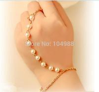 Style HE0015 Fashion Women Jewelry Gold/Silver Metal Imitation Pearls Bracelets Jewelry