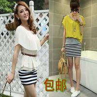 Navy style stripe short skirt step skirt black and white stripes 2 high waist female