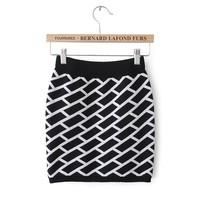 Autumn and winter all-match women's knitted plaid bust skirt yarn bag skirt mini slim hip short skirt step skirt