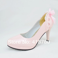 Platform high-heeled platform shoes slip-resistant lace bow japanned leather candy single shoes wedding shoes female shoes
