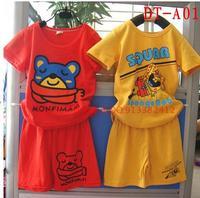 Cartoon 2014 100% children's cotton clothing set child short-sleeve set