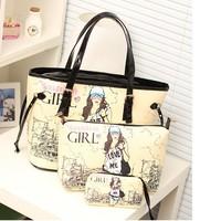 Cartoon Shoulder bag print buns bag piece set bag all-match 2014 women's cross-body handbag