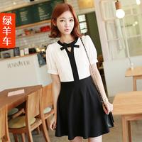 Car small fresh preppy style patchwork slim waist bow short-sleeve o-neck basic one-piece dress