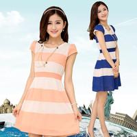 Free shipping Women's one-piece dress 2014 slim plus size patchwork small fresh short-sleeve chiffon stripe