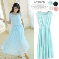 Free shipping 2014 chiffon one-piece dress summer bohemia slim long design pleated female