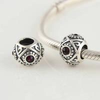 Lw054 925 pure silver beads pendant  diy  red diamond  decorative pattern  thread