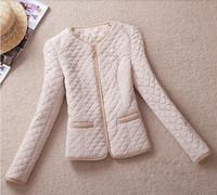 Women Vintage Gold Buckle Epaulette Pocket O-Neck Slim Thin Wadded Jacket Cotton-Padded Size M To 5XL Biggest Code AD757