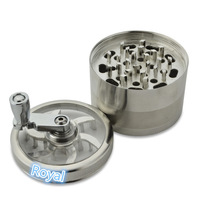 SILVER CHROME 4-LAYER ALUMINUM HAND CRANK TOBACCO HERB SPICE WEED GRINDER POLLINATOR CRUSHER MULLER SMOKING TOOL HIGH QUALITY
