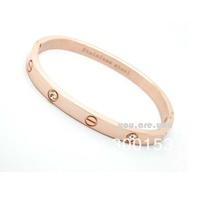 Rose Gold Nail Style Stainless Steel White Crystal Inlay Bracelet Bangle Unisex