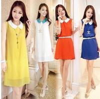 Wite Belt!2014 NEW Korean Womens Fashion Pleated Chiffon Sleeveless Shoulder Solid Colors Tank Mini Dress M L XL Y03005