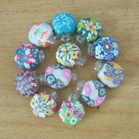 High Quality 2ml Ceramic Bottle Polymer Clay Refillable Perfume Necklace Essential Oil Glass Bottle with Wood Stopper
