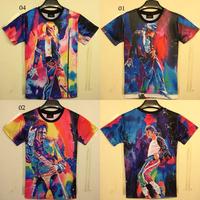 Free Shipping 2014 new style superstar jackson t shirt men both side printing short sleeve o neck 3d t-shirt 6models