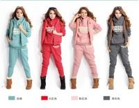 1Lot =1Set =3pcs=1pcs pant+1pcs top+1pcs vest , Winter Korean version women's leisure suits thick fleece hooded sweater SW033