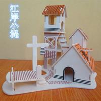 Children's educational toys intelligence toys 3D puzzle hut wooden model