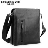 Hodginsii diamond genuine leather man bag shoulder bag