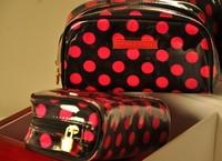 Wholesale 10pcs/lot VS new High quality PU leather Print flower Makeup Bag Dot Cosmetic wash Bag waterproof bag free shipping