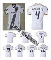 top thai quality Los Angeles Galaxy Home White Soccer Jersey 14/ 15 men shirt DELAGARZA ZARDES DONOVAN GONZALEZ KEANE  Customize