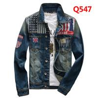 Hot Sales!American Flag Jeans Jacket Men/mens designer jeans jacket denim with holes/Blue Black Plus Size XXXL/ Free Shipping