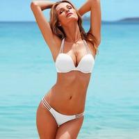 Women Sexy Push up Padded Swimsuit Bikini Set and circular metal S M L