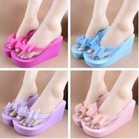 Summer fashion women's bow high-heeled sandals flip flops flip slippers beach slippers