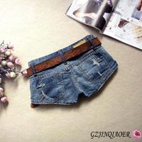 2014 spring and summer personalized pocket water wash denim blue low-waist shorts female slim distrressed
