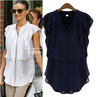2014 New Summer High Fashion Women Cloting Blouse Plus size Casual Slim European style chiffon short sleeve shirt women